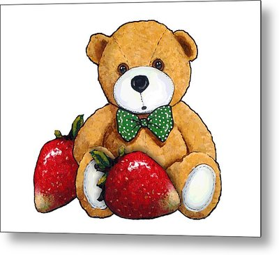Teddy Bear With Strawberries Metal Print by Joyce Geleynse