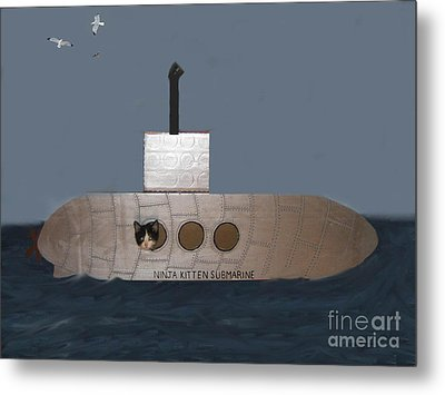 Teddy In Submarine Metal Print by Reb Frost