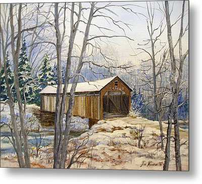 Teegarden Covered Bridge In Winter Metal Print by Lois Mountz