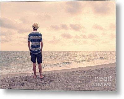 Teen Boy On Beach Metal Print by Edward Fielding