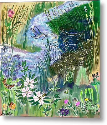 Teen Drawing -- Hummingbird Collecting Silk Metal Print by Dawn Senior-Trask