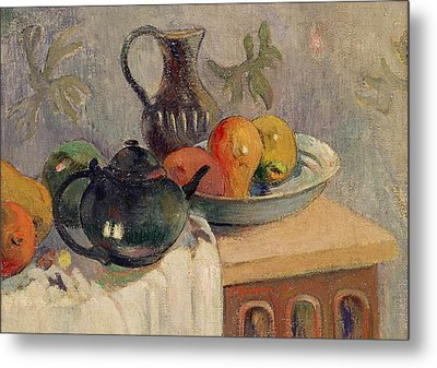 Teiera Brocca E Frutta Metal Print by Paul Gauguin
