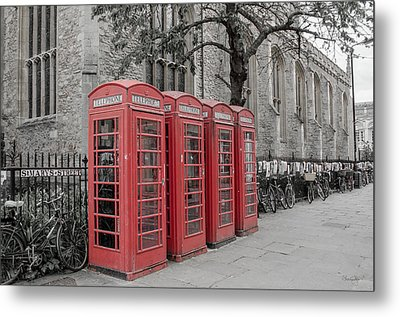 Telephone Boxes Metal Print