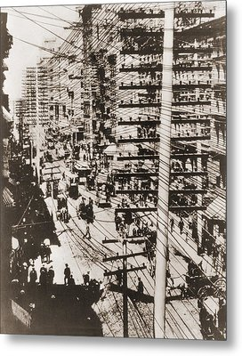 Telephone Wires Over New York, 1887 Metal Print by Everett