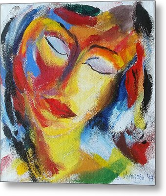 Metal Print featuring the painting Tell Me - I Listen You by Nina Mitkova