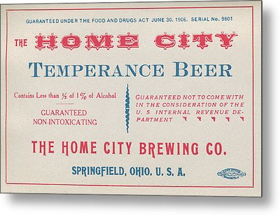 Temperance Beer Label Metal Print