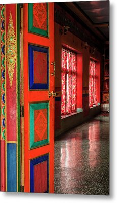 Metal Print featuring the photograph Temple Door by Alexey Stiop