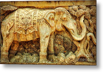 Temple Elephant Metal Print by Adrian Evans