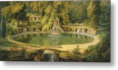 Temple Fountain And Cave In Sezincote Park Metal Print by Thomas Daniell