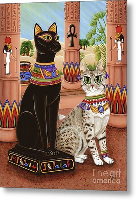 Metal Print featuring the painting Temple Of Bastet - Bast Goddess Cat by Carrie Hawks