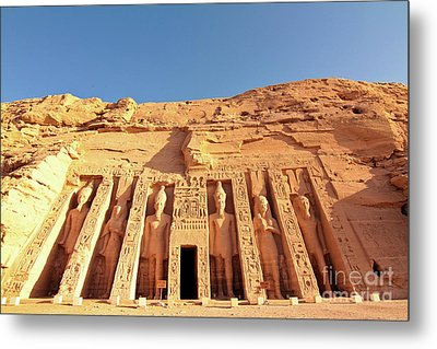 Temple Of Hathor/nefertari Metal Print by Theodore Liasi