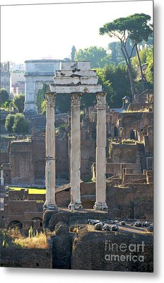 Temple Of Vesta Arch Of Titus. Temple Of Castor And Pollux. Forum Romanum Metal Print