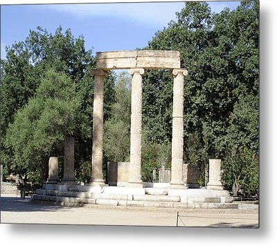 Temple Of Zeus Ancient Ruins In Olympia Greece Metal Print by John Shiron