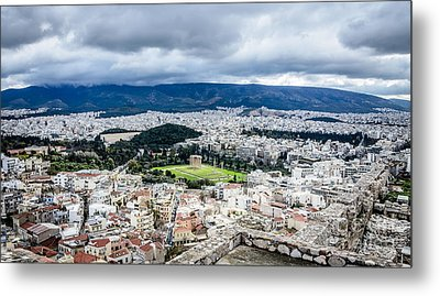 Temple Of Zeus - View From The Acropolis Metal Print by Debra Martz