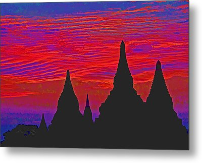Temple Silhouettes Metal Print by Dennis Cox