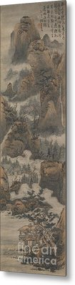 Temples Among Autumn Mountains Metal Print by Celestial Images