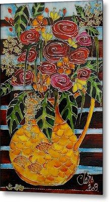 Ten Roses On A Bench Metal Print by Cornelia Tersanszki