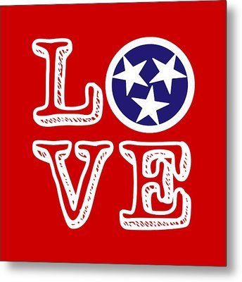 Tennessee Flag Love Metal Print by Heather Applegate