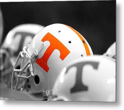 Tennessee Football Helmets Metal Print by University of Tennessee Athletics