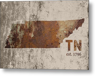 Tennessee State Map Industrial Rusted Metal On Cement Wall With Founding Date Series 030 Metal Print by Design Turnpike