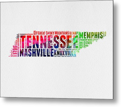 Tennessee Watercolor Word Cloud Map  Metal Print