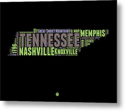Tennessee Word Cloud Map 1 Metal Print by Naxart Studio