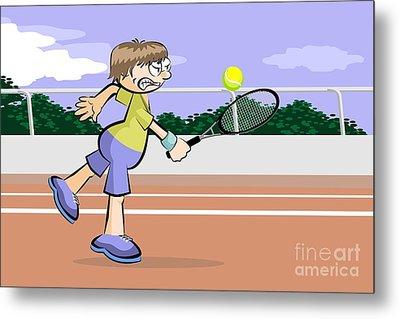 Tennis Game On Red Brick Court Metal Print