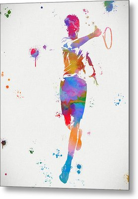 Tennis Player Paint Splatter Metal Print
