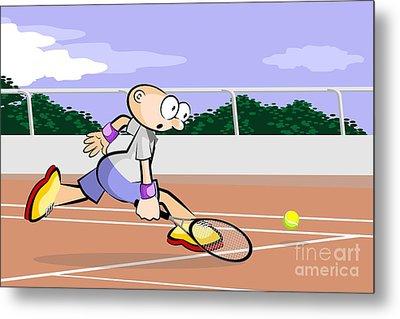 Tennis Player Runs On A Red Brick Court To Reach The Ball Metal Print