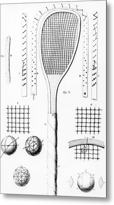 Tennis Racket And Balls Metal Print by French School