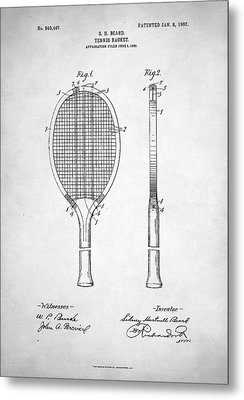Tennis Racket Patent 1907 Metal Print