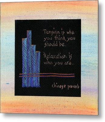 Tension Is...in Orange And Blue Metal Print by Andrea Swope