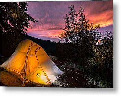 Tent At Sunset Metal Print by Michael J Bauer