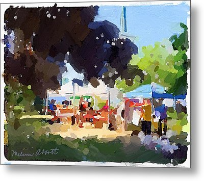 Tents And Church Steeple At Rockport Farmers Market Metal Print