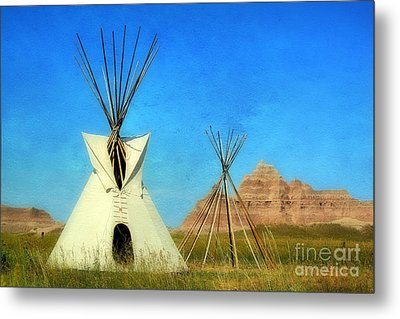 Tepee In Badlands Metal Print