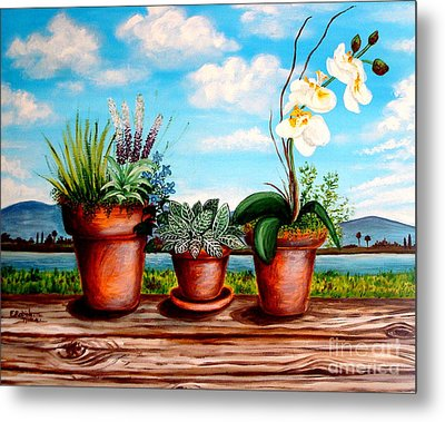Metal Print featuring the painting Terra Cotta Blues by Elizabeth Robinette Tyndall