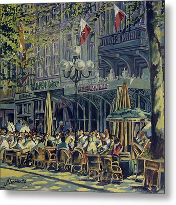 Terrace At The Vrijthof In Maastricht Metal Print