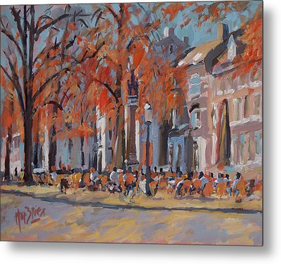 Terrace In The Grand Tanners Street Maastricht Metal Print by Nop Briex