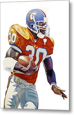 Terrell Davis - Denver Broncos  Metal Print by Michael Pattison