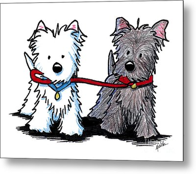 Terrier Walking Buddies Metal Print