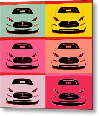 Tesla Car Pop Art Metal Print