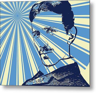 Tesla Pop Art Poster Metal Print