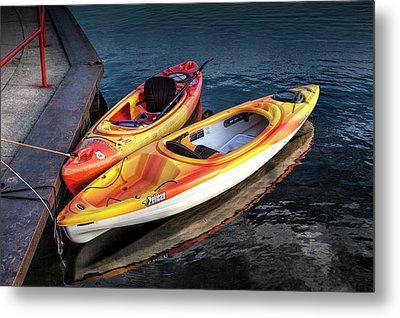 Tethered Kayaks On The Flat River Metal Print