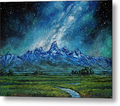 Metal Print featuring the painting Teton Milky Way by Aaron Spong