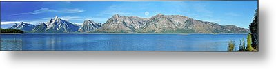 Teton Moonset Borderless Metal Print by Greg Norrell
