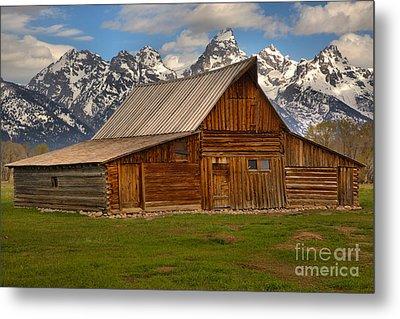 Teton Mountain Barn Metal Print by Adam Jewell