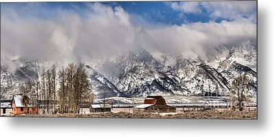 Metal Print featuring the photograph Teton Mountains Over Mormon Row by Adam Jewell