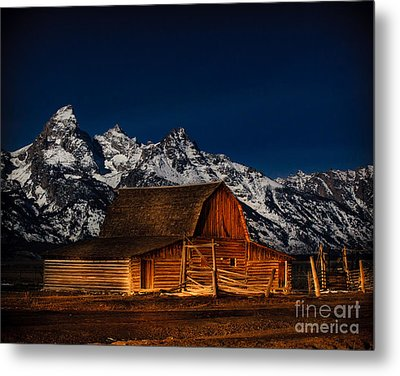 Teton Mountains With Barn Metal Print