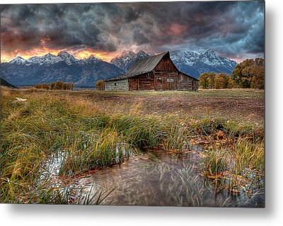 Teton Nightfire At The Ta Moulton Barn Metal Print