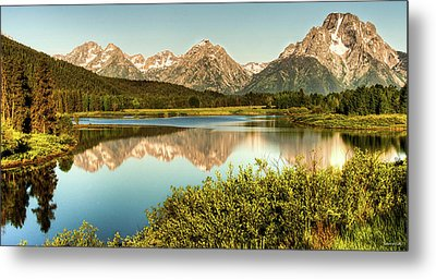 Teton Reflections Metal Print by Rebecca Hiatt